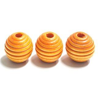 16mmCarrot Yellowキャロットイエローカラー円形ウッド製ビーズ、パーツ