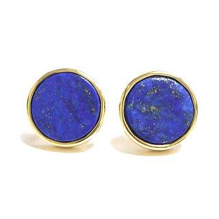 【2個(1ペア)】1点もの〜ラピスラズリ (lapis lazuli) 天然石ゴールド円形Circleシルバー925芯ピアス