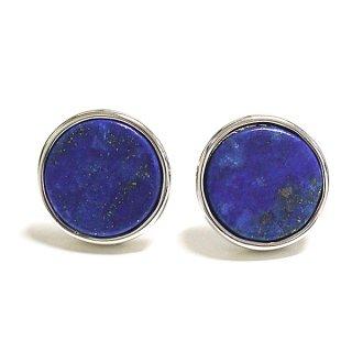 【2個(1ペア)】1点もの〜ラピスラズリ (lapis lazuli) 天然石シルバー円形Circleシルバー925芯ピアス