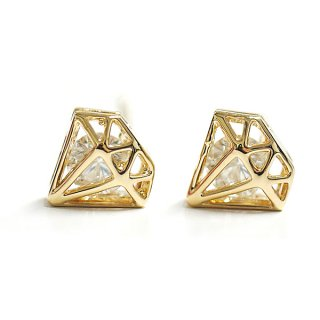 【1ペア】一粒CZが煌くダイヤモンドモチーフゴールドピアス