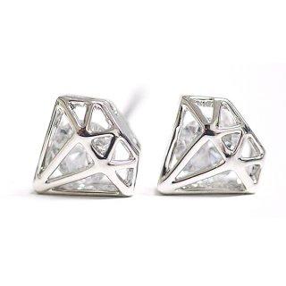 【1ペア】一粒CZが煌くダイヤモンドモチーフシルバーピアス