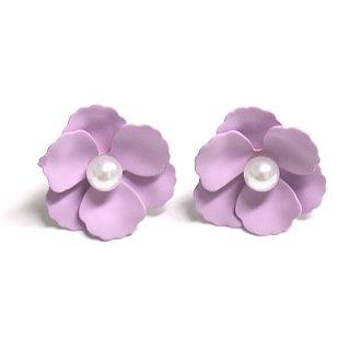【1ペア】ラベンダーカラー花&一粒パールチタン芯ピアス