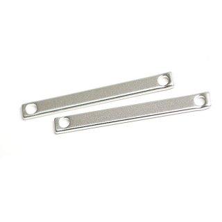 【2個入り】32mm×3.5mmバースティックマッドシルバー両穴チャーム、パーツ