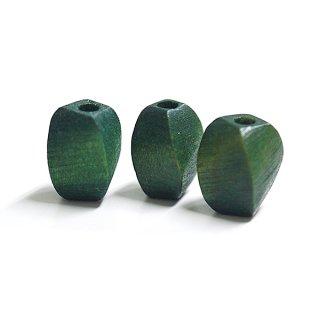 【6個】グリーンカーキカラーツイスト形ウッドビーズ 貫通