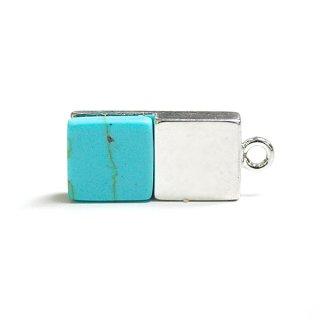 【1個】天然石Turquoise(ターコイズ)風四角形シルバーチャーム