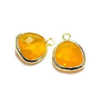 【1個】オレンジーカラーGlass歪みマロン形ゴールドチャーム、パーツ