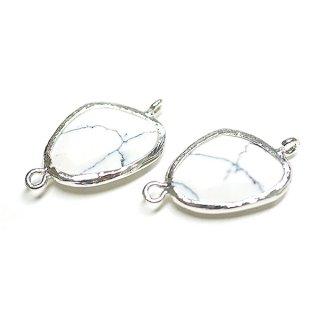 【1個】キュートな三角形ハウライト風Glassシルバー両側カン付きチャーム、パーツ