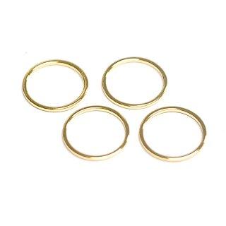 【4個入り】華奢な15*1mmサークル光沢ゴールドチャーム、パーツ