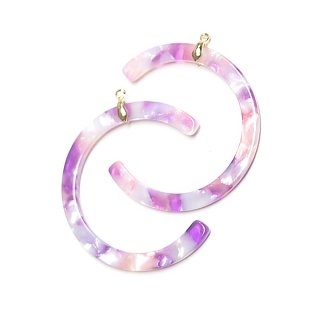 【2個】Lavenda&Pink Mableカーブ形ゴールド装飾カン付きチャーム、パーツ