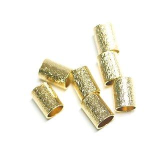 【4個入り】質感ある約8mm,直径約6mmのゴールド円筒パーツ
