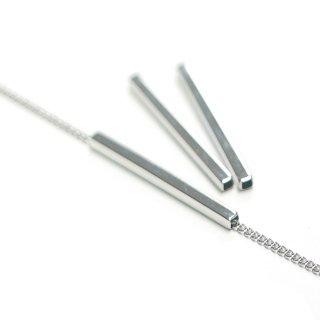 【4個】真鍮製!高品質2mm*25mmシルバースクエア形パイプ、金具、パーツ