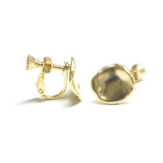 【1ペア】手作り感ある円形ネジバネ付きマッドゴールドイヤリング、パーツ