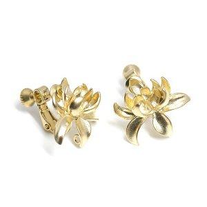 【1ペア】Lotus Bloomカン&ネジバネ付きマッドゴールドイヤリング、パーツ
