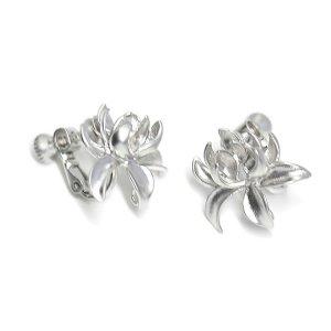 【1ペア】Lotus Bloomカン&ネジバネ付きマッドシルバーイヤリング、パーツ