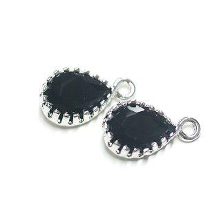【2個入り】プチしずく形GLASSオニキスブラックカラーシルバーチャーム、パーツ