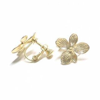 【1ペア】Hawaiian Flowerマッドゴールドネジバネ付きイヤリング、パーツ