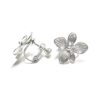 【1ペア】Hawaiian Flowerマッドシルバー ネジバネ付きイヤリング、パーツ