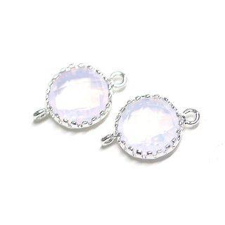 【2個入り】オーロラピンクカラー円形両カン付きシルバーチャーム、パーツ