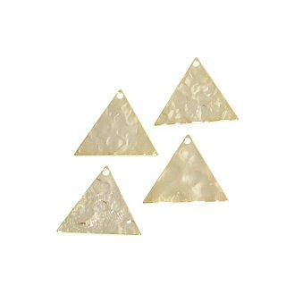 【4個入り】凹凸ある約17mm三角形ゴールドチャーム、パーツ