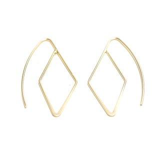 【2個(1ペア)】約25mmダイヤモンド形マッドゴールドピアスフック