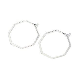 【4個入り】マットシルバーSharp Hexagon ヘキサゴン形ピアスフック、パーツ