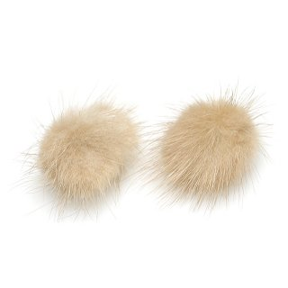 【4個入り】ライトベージュカラーミンクファーMink Fur 30mm