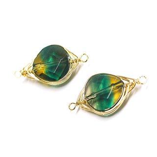 【1個】1点もの!3色グリーン水晶(クオーツ)約23mmゴールド両カンチャーム、パーツ