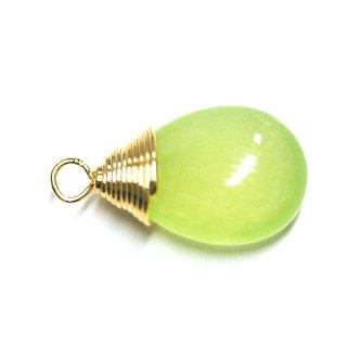 【1個】1点もの!ライトグリーンカラー翡翠(Jade)約16mmしずく形ゴールドチャーム、パーツ