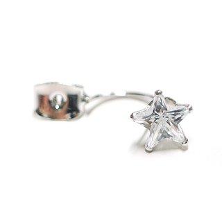 【1ペア】約7mmスター(星)形CZが輝くシルバーピアスキャッチ、パーツ