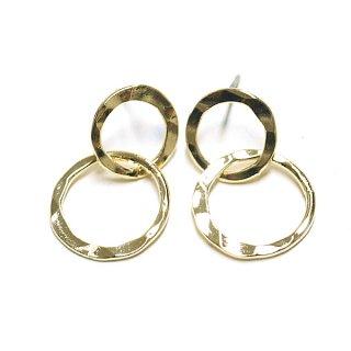 【1ペア】チタン芯!凹凸あるカーブDouble Circle光沢ゴールドピアス、パーツ