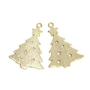 【1個】クリスマスツリーモチーフの質感あるゴールドチャーム、パーツ