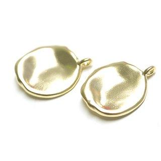 【2個入り】手作り感あるマッドゴールド円形チャーム、パーツ