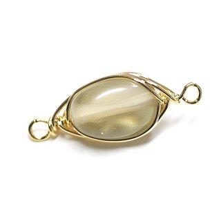 【1個】1点もの!水晶(レモン・クォーツ)約17mm両カンゴールドチャーム、パーツ
