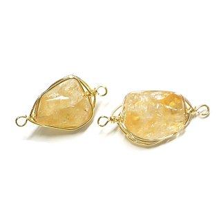 【1個】1点もの!シトリンCitrine黄水晶 ゴールドチャーム、パーツ