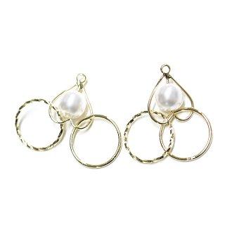 【2個入り】Heart in Pearl&Double Circleゴールドチャーム、パーツ