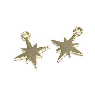 【2個入り】Sparkle Star 星モチーフゴールドチャーム、パーツ