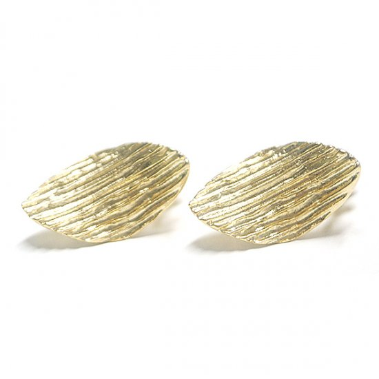 【1ペア】質感あるshape ovalオーバル形カン&ネジバネ付きマッドゴールドイヤリング、パーツ