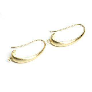 【2個入り】カン付き!質感あるマットゴールド優美な曲線の約24mmピアスフック、パーツ