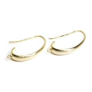 【2個入り】カン付き!質感ある光沢ゴールド優美な曲線の約24mmピアスフック、パーツ
