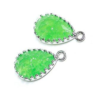 【2個入り】Rock Glassライムグリーンカラードロップ形シルバーチャーム、パーツ