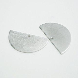 【2個入り】質感ある約25mmハープサークル形マッドシルバーチャーム、パーツ