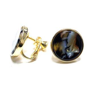 【1ペア】ゴールド&ブロンズマーブルカラー16mm円形イヤリング、パーツ 027