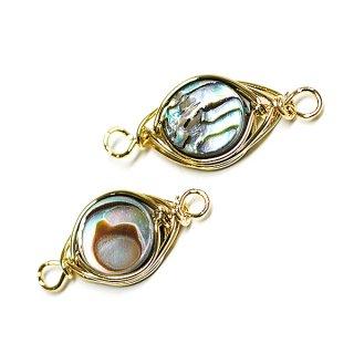 【1個】1点もの!アワビの貝殻Abalone Shell 両カン付きゴールドチャーム、パーツ