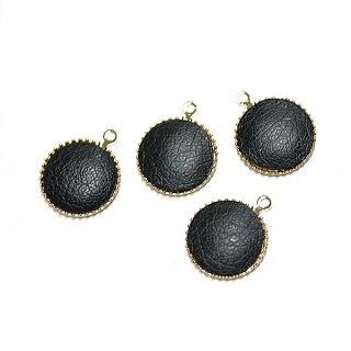 【4個入り】約11mmブラックカラーleather円形ゴールドチャーム、パーツ