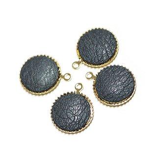 【4個入り】約11mmダークグレーカラーleather円形ゴールドチャーム、パーツ