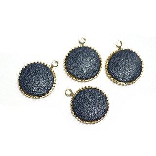 【4個入り】約11mmネイビーカラーleather円形ゴールドチャーム、パーツ