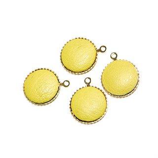 【4個入り】約11mmイエローカラーleather円形ゴールドチャーム、パーツ