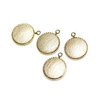 【4個入り】約11mmゴールドカラーleather円形ゴールドチャーム、パーツ