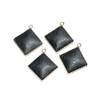 【4個入り】約11mmブラックカラーleatherゴールドチャーム、パーツ