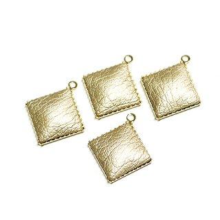 【4個入り】約11mmゴールドカラーleatherゴールドチャーム、パーツ